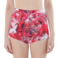 Flower Roses Heart Art Abstract High Waisted Bikini Bottoms