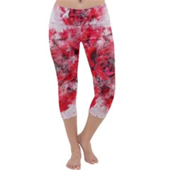 Flower Roses Heart Art Abstract Capri Yoga Leggings