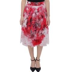 Flower Roses Heart Art Abstract Folding Skater Skirt