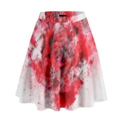 Flower Roses Heart Art Abstract High Waist Skirt by Nexatart