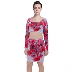 Flower Roses Heart Art Abstract Long Sleeve Crop Top & Bodycon Skirt Set