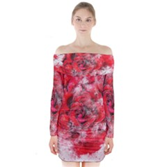Flower Roses Heart Art Abstract Long Sleeve Off Shoulder Dress