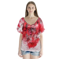 Flower Roses Heart Art Abstract V Neck Flutter Sleeve Top