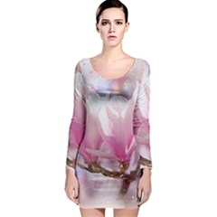 Flowers Magnolia Art Abstract Long Sleeve Bodycon Dress