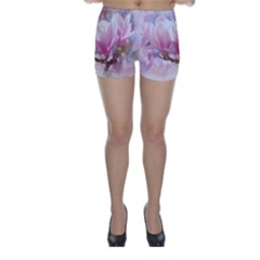 Flowers Magnolia Art Abstract Skinny Shorts