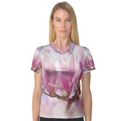 Flowers Magnolia Art Abstract V Neck Sport Mesh Tee