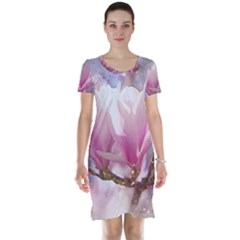Flowers Magnolia Art Abstract Short Sleeve Nightdress