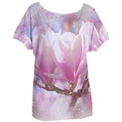 Flowers Magnolia Art Abstract Women s Oversized Tee