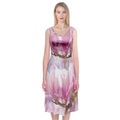 Flowers Magnolia Art Abstract Midi Sleeveless Dress