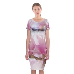 Flowers Magnolia Art Abstract Classic Short Sleeve Midi Dress