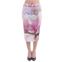 Flowers Magnolia Art Abstract Midi Pencil Skirt