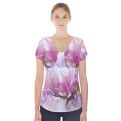 Flowers Magnolia Art Abstract Short Sleeve Front Detail Top