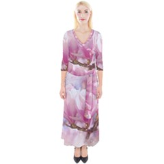 Flowers Magnolia Art Abstract Quarter Sleeve Wrap Maxi Dress