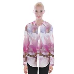 Flowers Magnolia Art Abstract Womens Long Sleeve Shirt