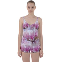 Flowers Magnolia Art Abstract Tie Front Two Piece Tankini