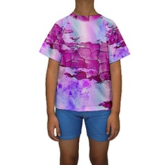 Background Crack Art Abstract Kids  Short Sleeve Swimwear