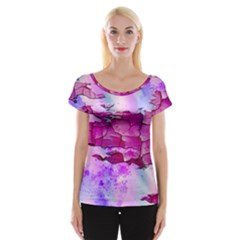 Background Crack Art Abstract Cap Sleeve Tops
