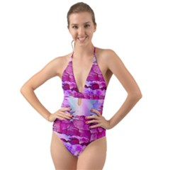 Background Crack Art Abstract Halter Cut Out One Piece Swimsuit