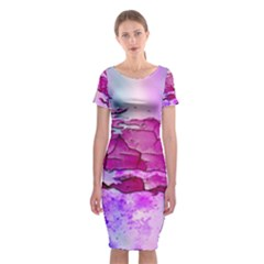 Background Crack Art Abstract Classic Short Sleeve Midi Dress