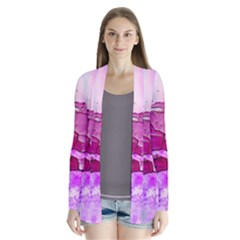 Background Crack Art Abstract Drape Collar Cardigan