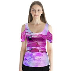 Background Crack Art Abstract Butterfly Sleeve Cutout Tee