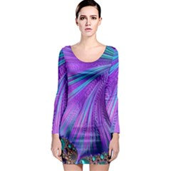 Abstract Fractal Fractal Structures Long Sleeve Bodycon Dress