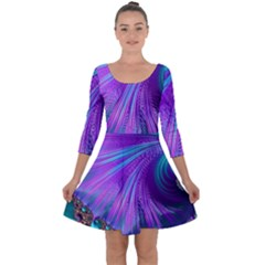 Abstract Fractal Fractal Structures Quarter Sleeve Skater Dress