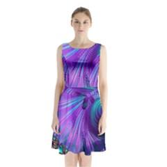 Abstract Fractal Fractal Structures Sleeveless Waist Tie Chiffon Dress