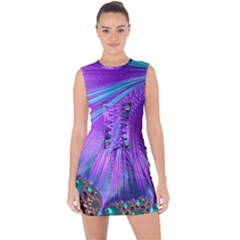 Abstract Fractal Fractal Structures Lace Up Front Bodycon Dress