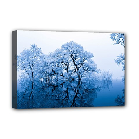 Nature Inspiration Trees Blue Deluxe Canvas 18  X 12