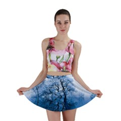 Nature Inspiration Trees Blue Mini Skirt