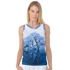 Nature Inspiration Trees Blue Women s Basketball Tank Top