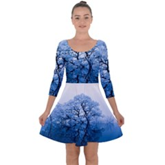 Nature Inspiration Trees Blue Quarter Sleeve Skater Dress