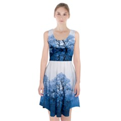 Nature Inspiration Trees Blue Racerback Midi Dress
