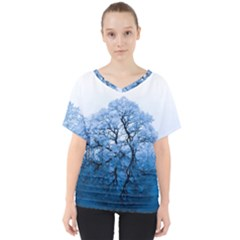 Nature Inspiration Trees Blue V Neck Dolman Drape Top