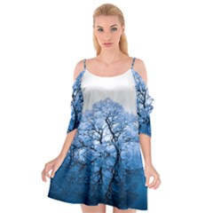 Nature Inspiration Trees Blue Cutout Spaghetti Strap Chiffon Dress