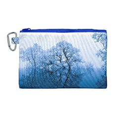 Nature Inspiration Trees Blue Canvas Cosmetic Bag (large)