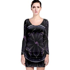 Fractal Abstract Purple Majesty Long Sleeve Bodycon Dress