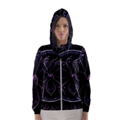 Fractal Abstract Purple Majesty Hooded Wind Breaker (women)