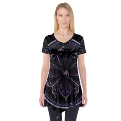 Fractal Abstract Purple Majesty Short Sleeve Tunic
