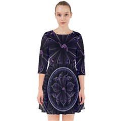 Fractal Abstract Purple Majesty Smock Dress