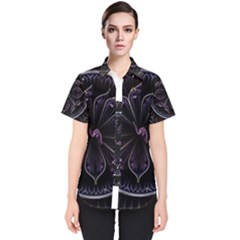 Fractal Abstract Purple Majesty Women s Short Sleeve Shirt