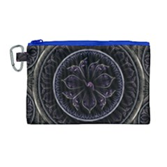 Fractal Abstract Purple Majesty Canvas Cosmetic Bag (large)