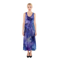Ink Background Swirl Blue Purple Sleeveless Maxi Dress