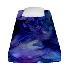 Ink Background Swirl Blue Purple Fitted Sheet (single Size) by Nexatart