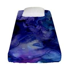 Ink Background Swirl Blue Purple Fitted Sheet (single Size)
