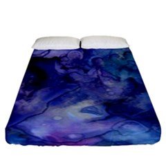 Ink Background Swirl Blue Purple Fitted Sheet (king Size) by Nexatart