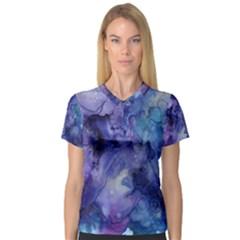 Ink Background Swirl Blue Purple V Neck Sport Mesh Tee