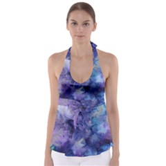 Ink Background Swirl Blue Purple Babydoll Tankini Top