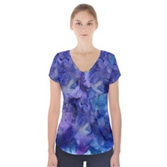 Ink Background Swirl Blue Purple Short Sleeve Front Detail Top